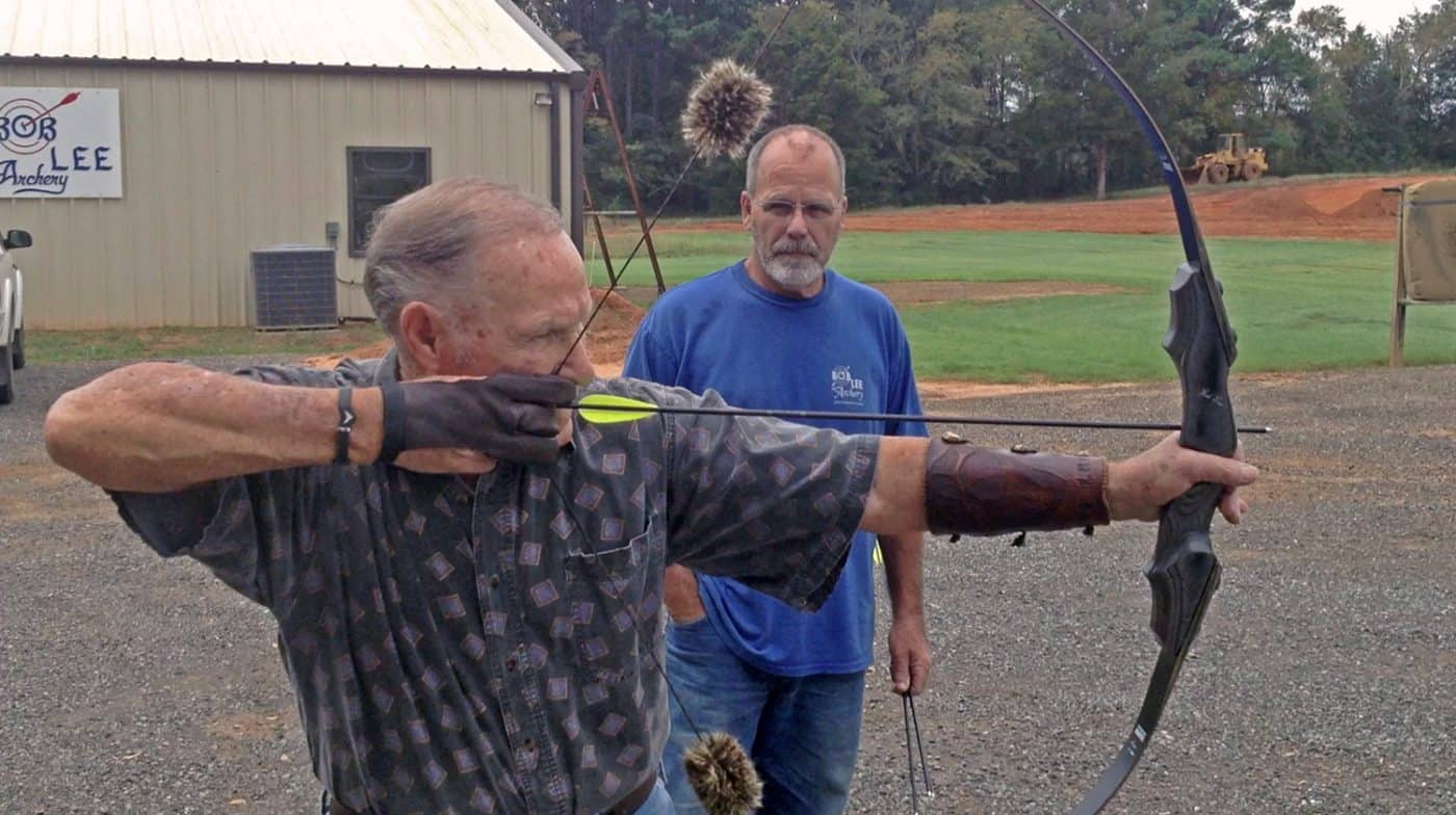 Archery pioneer Bob Lee demonstrating his fine bow form at age 86