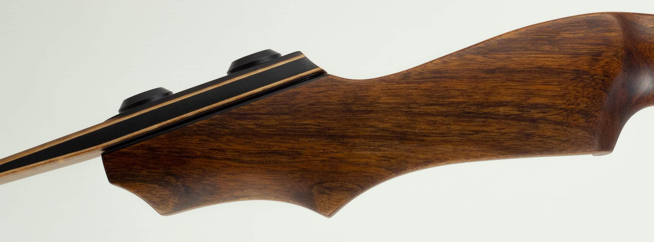 Closeup of wood grain on an archery bow