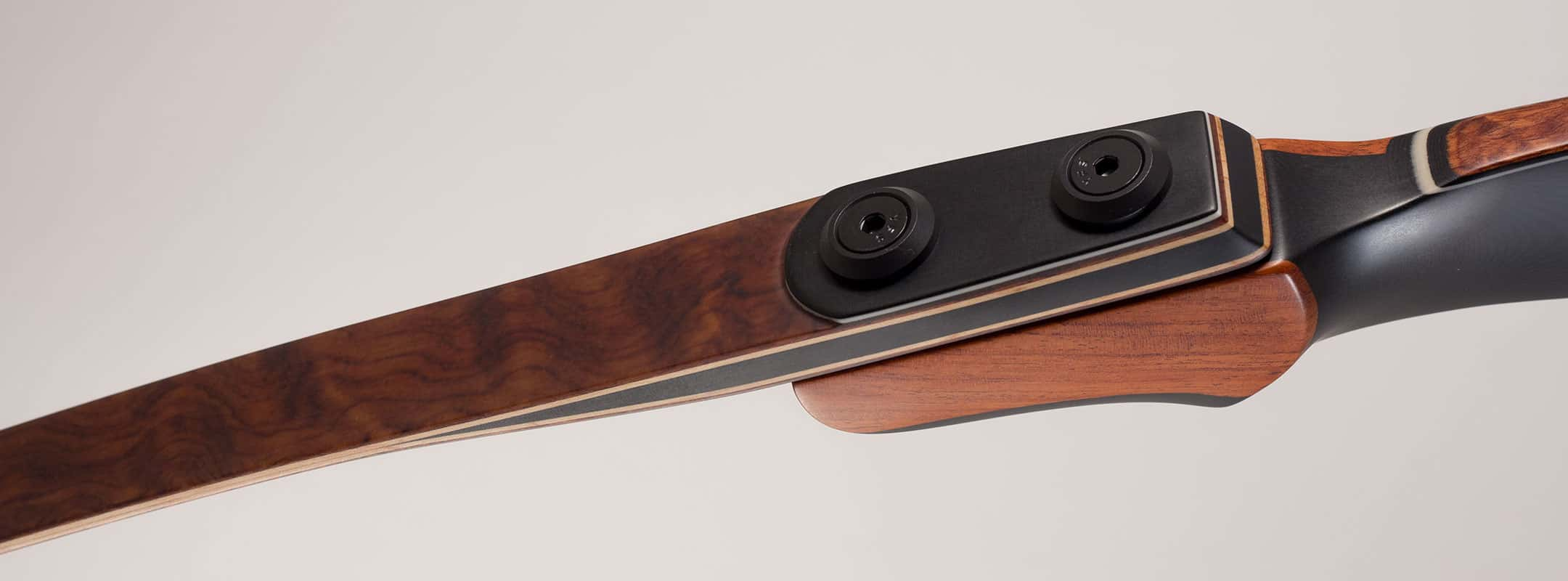 American made longbow handcrafted of wood and phenolic