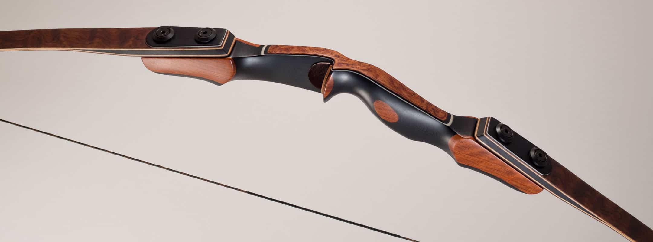 Longbow handle showing exotic veneer overlay